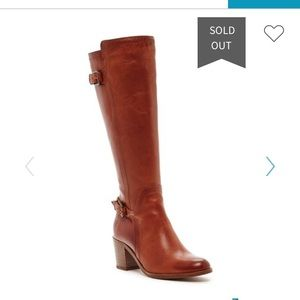 Frye Janis Leather Shield Tall Boot in Cognac